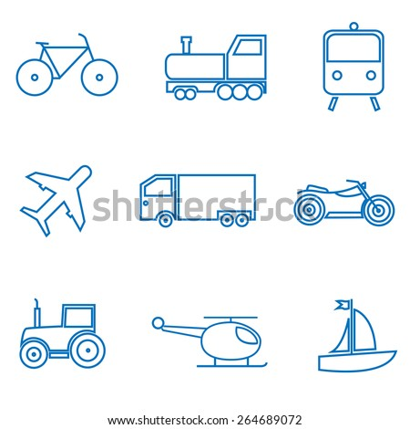 Mode of transport. Car, train, plane, bike, truck, tractor icon set. Vector illustration. - stock vector