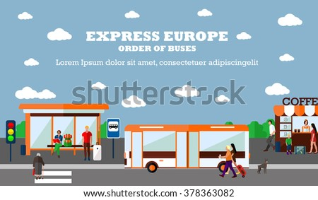 Mode of Transport concept vector illustration. Bus stop banner. Design elements in flat style. City transportation objects: bus, station, road, cafe. - stock vector