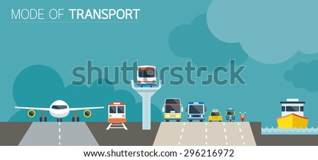 Mode of Transport Illustration Icons Objects Front View, Transportation Concept Set - stock vector