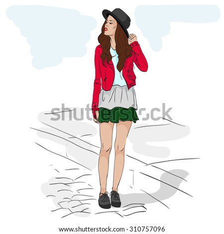Model fashion sketch. Excellent vector illustration, EPS 10 - stock vector