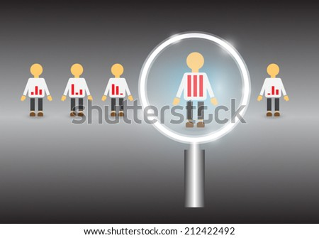 Model of people  and magnifier on gray background. - stock vector