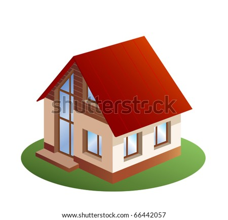 model of three dimensions family  house - stock vector