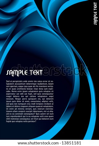 Modern abstract background in blue and black with copy space - stock vector