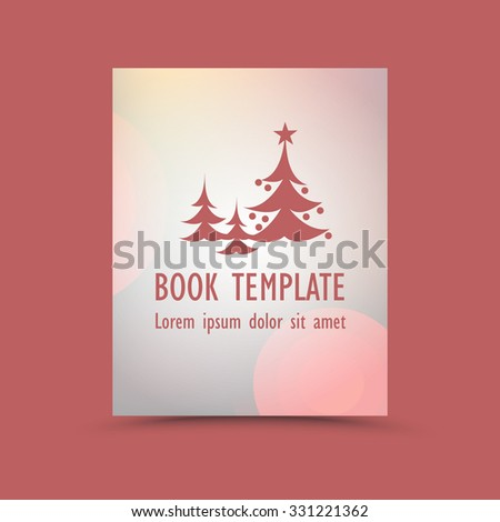 Modern abstract book template - christmas tree  - stock vector