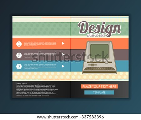 Modern abstract brochure design for infographics, business design and website templates, cutout lines and numbers, retro colors. Esp 10 vector illustration - stock vector