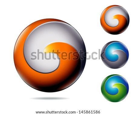 modern abstract business colorful icon as letter G or C - stock vector