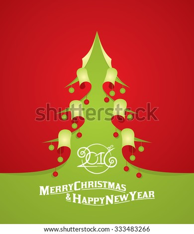 Modern abstract christmas tree background, curl paper illustration design, eps10 vector - stock vector