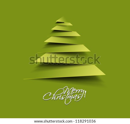 Modern abstract christmas tree background, vector illustration - stock vector