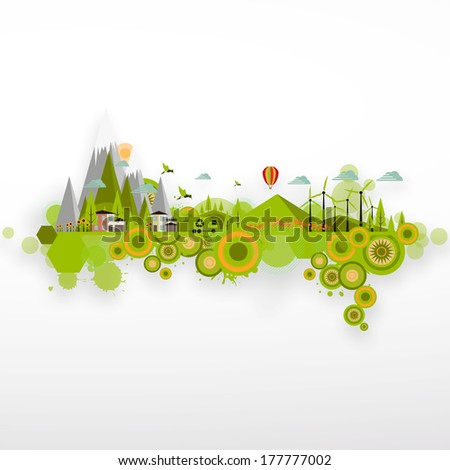 Modern Abstract Ecology Town - stock vector