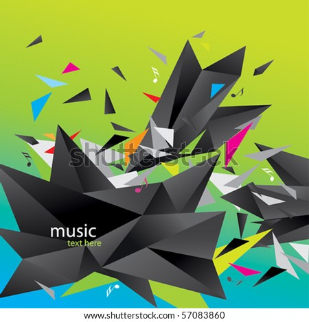 Modern abstract figure of black triangles surrounded flying splinters and notes on a colorful background. - stock vector