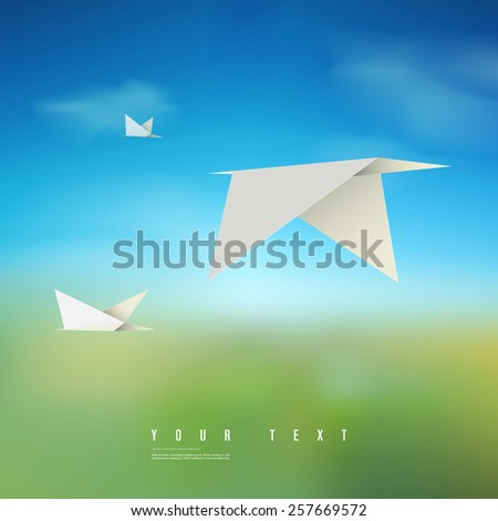 Modern abstract flying origami birds with beautiful landscape background  Eps 10 stock vector illustration   - stock vector