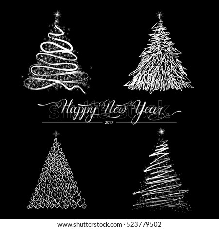 Modern Abstract Happy New Year Trees background, Greeting card for winter holidays. Fir- trees isolated on black. Eps10 vector illustration