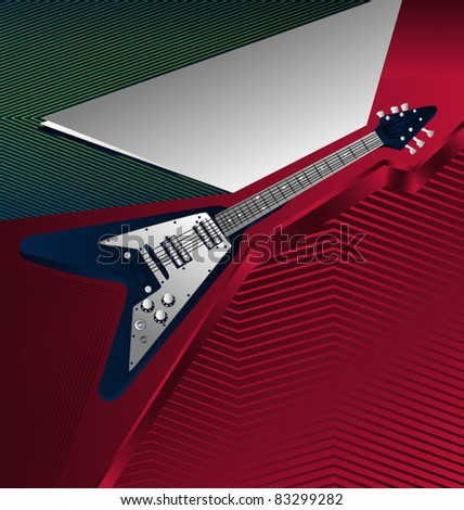 Modern abstract musical designed background. Guitar. - stock vector