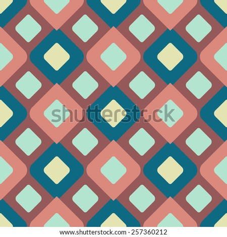 Modern abstract symmetric rhombus seamless pattern for textile and fabric. Marsala color. Fashion geometric background. Vector illuastration. - stock vector