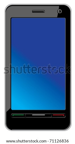 Modern abstract touch screen smart phone isolated on white. Vecto illustration - stock vector