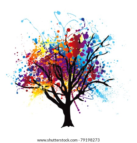 Modern abstract tree with paint splat leaves or canopy - stock vector