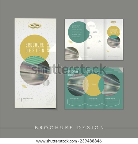 modern abstract tri-fold brochure template design with circle elements - stock vector