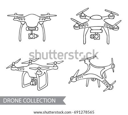 Modern Air Drone Remote Control Drone Stock Vector 691278565