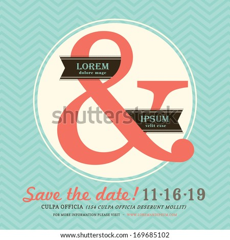 Modern Ampersand Wedding invitation with chevron background template - stock vector