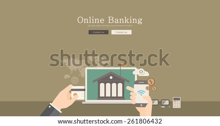 Modern and classic design for online banking concept illustration - stock vector