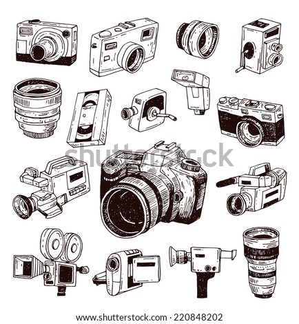 modern and Vintage camera icon set, vector illustration - stock vector