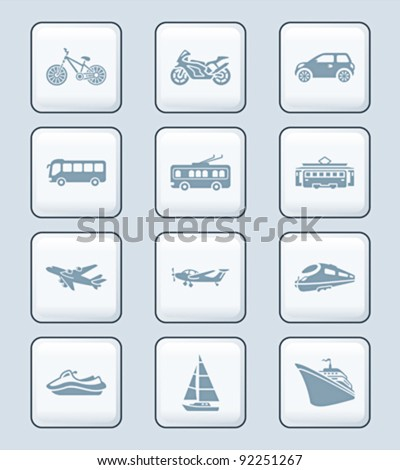 Modern and vintage road, air and water vehicles icon-set - stock vector