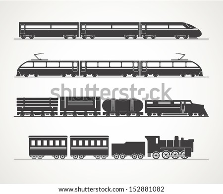 Modern and vintage train silhouette collection - stock vector