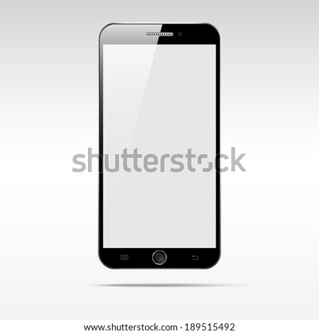 Modern android touchscreen phone smartphone isolated on light background.  Blank screen - stock vector