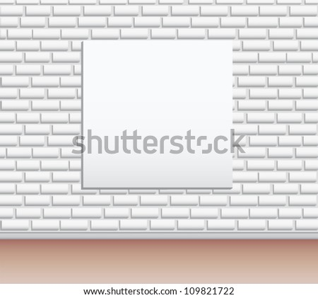 Modern art gallery Empty picture on the wall  vector background - stock vector