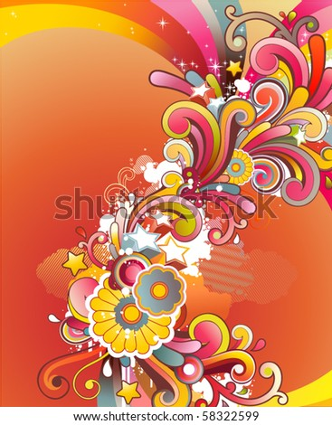 Modern background with colored contemporary abstract floral ornament and free space for your text - stock vector