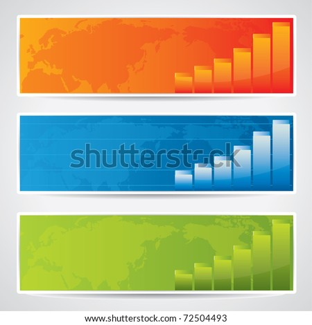 Modern banners with world map and charts in different color variations - stock vector