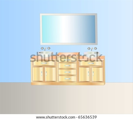 modern bathroom interior ( background on separate layer ) - stock vector