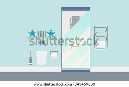 Modern Bathroom Interior With Bede, Toilet, Shower, Electric Dryer, Hygiene  Accessories.