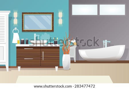 Modern bathroom interior with furniture and hygiene accessories flat vector illustration - stock vector
