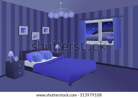Modern Bedroom Night Blue Black Bed Pillows Lamps Window Illustration Vector