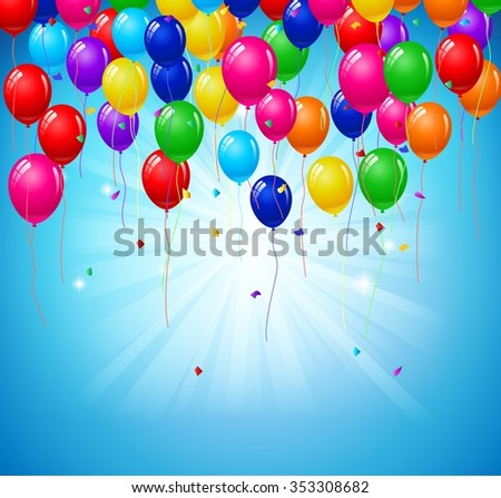 Modern birthday background with balloons - stock vector