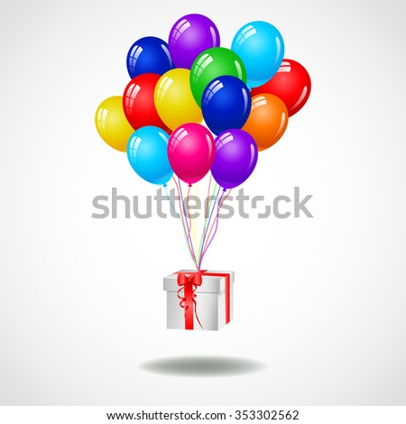Modern birthday background with balloons and gift - stock vector