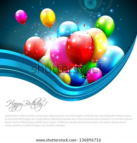 Modern birthday greeting card - stock vector