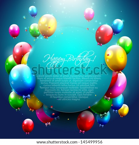 Modern birthday greeting card with place for text - stock vector