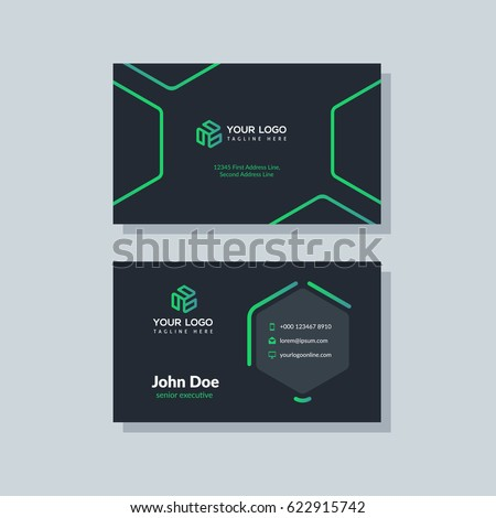 Modern black green business card template stock vector 2018 modern black and green business card template in flat design abstract background personal plain fbccfo Images