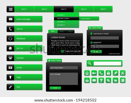 modern black and green web ui elements, forms, buttons and icons, vector illustration, eps 10 with transparency - stock vector