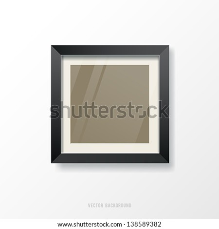 Modern black frame and glass empty background, vector illustration