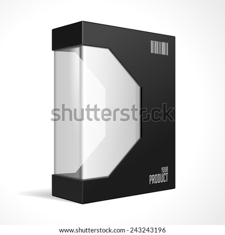 Modern Black Software Package Mock Up Box With Rounded Corners. With DVD Or CD Disk For Your Product. Vector EPS10  - stock vector