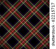 Modern black Stewart tartan - stock photo