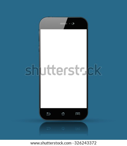 Modern Black Tablet Smartphone isolated with empty white screen. Realistic Smart Phone design. Vector illustration.