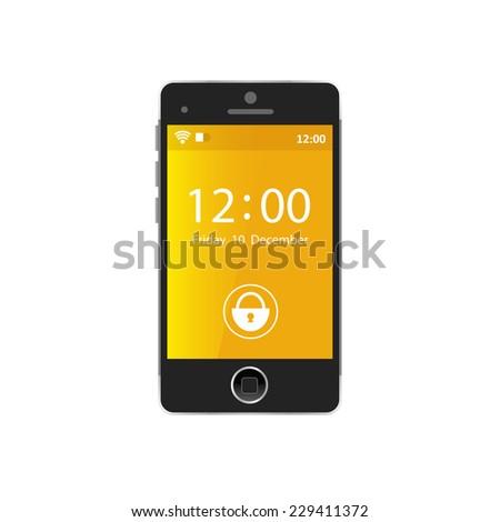 Modern black touchscreen cellphone tablet smartphone isolated on light background - stock vector