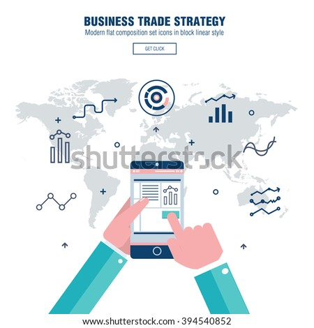 Modern block line flat business trade strategy with  information and mobile technologies graph icons and computers industry - stock vector