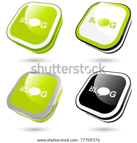modern blog sign collection in 3D - stock vector