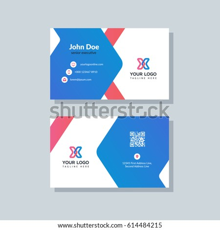 Modern Blue And Red Business Card Template In Flat Design Abstract Background Personal Plain
