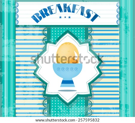 Modern, blue breakfast menu with one egg  - stock vector